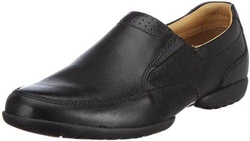 separation shoes 660f0 5b536 Clarks Recline Free - Herren Leder Slipper - zeitlos & klassisch - schwarz