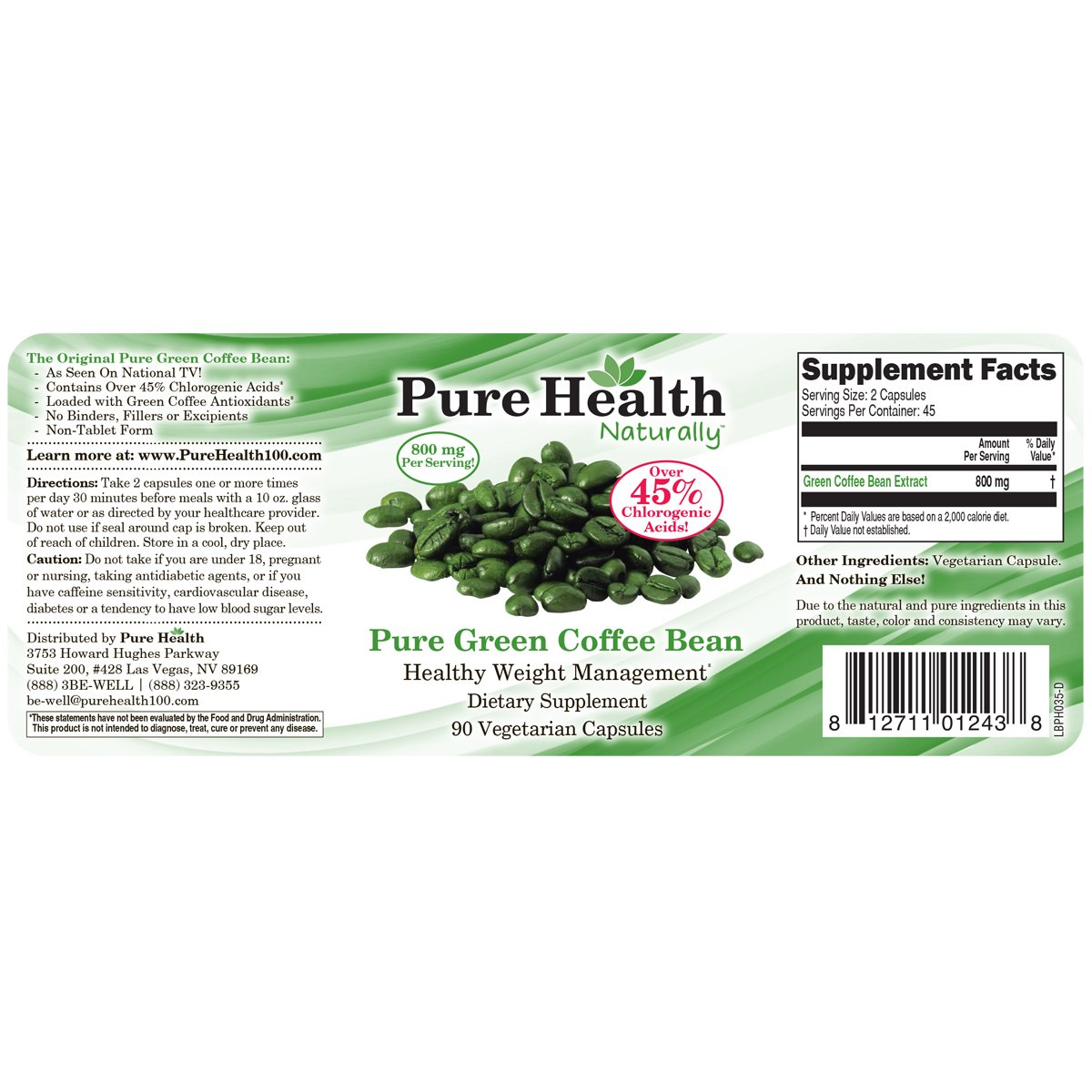 Pure Health Green Coffee Bean Extract - 800 mg Capsules - 90 Capsules by Pure Health (Image #1)