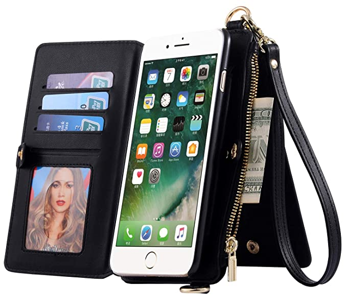 new product bff5f 9b62d SINIANL Case for iPhone XS Max/XR/XS/X/8/8 Plus/7/7 Plus Leather Wallet  Card Holder Case