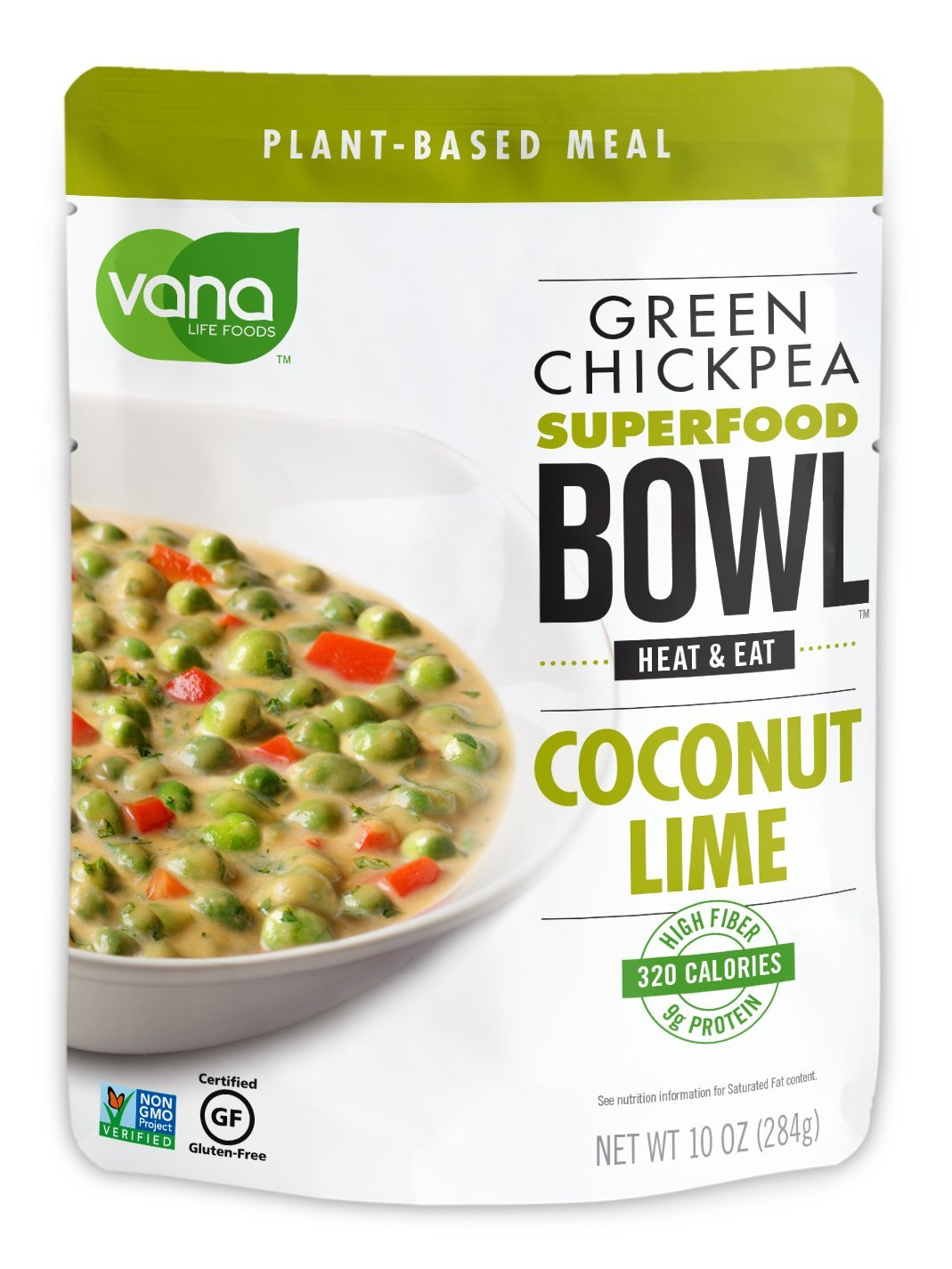 Vana Life's VEGAN, GLUTEN FREE, PLANT BASED PROTEIN Green Chickpea SUPER FOOD BOWL- 100% Natural with Coconut, Lime and Cilantro (6 Packaged Bowls) by Vana Life Foods