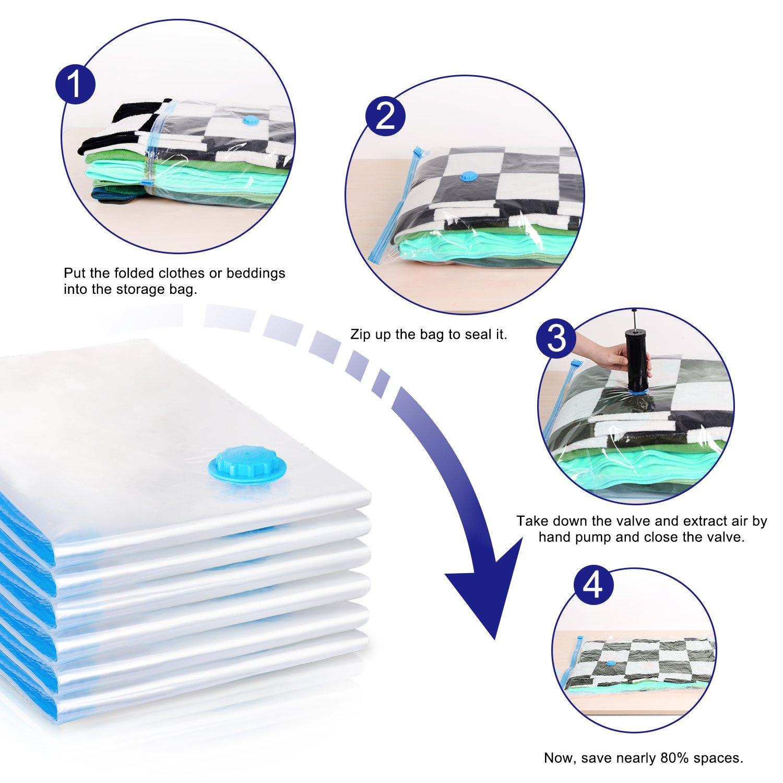 6 Pack Aufbewahrungsbeutel Adoric Vakuumbeutel in Gr/ö/ße 100 cm x70 cm