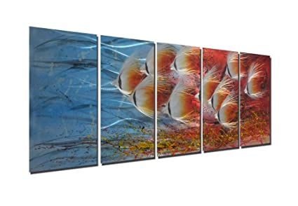 Amazon.com: Tropical School of Fish Metal Aluminum Wall Art Decor in ...
