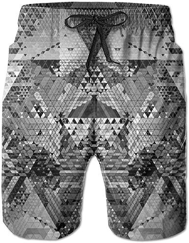 Mens Swim Trunks Quick Dry Grid Pattern with Geometric Art Colorful Printed Summer Beach Shorts Board Beach Short