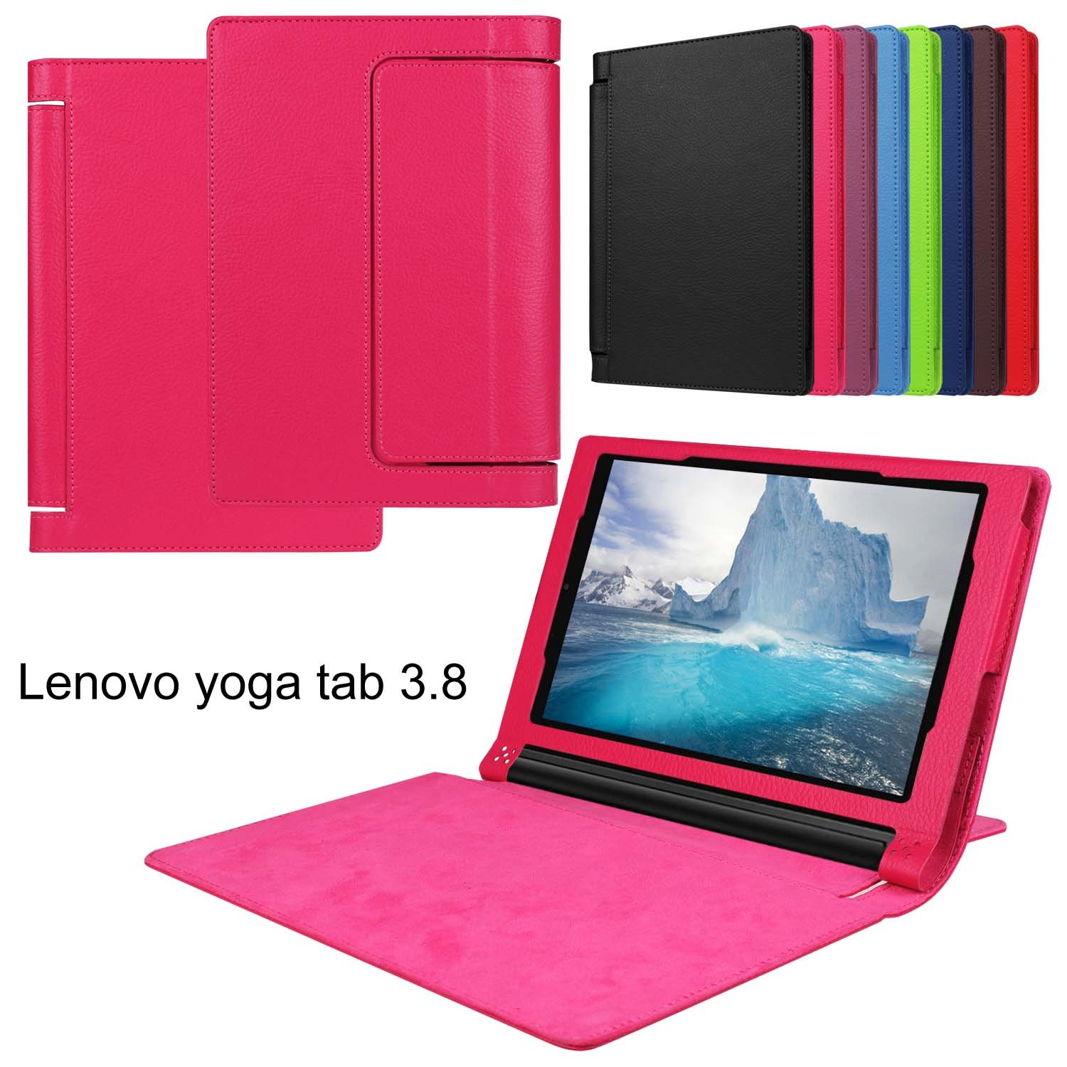 Asng Lenovo Yoga Tab 3 8 Case - Slim Folding Stand Cover Smart Case for 2015 Lenovo Yoga Tab3 8-Inch Tablet (Rose red)