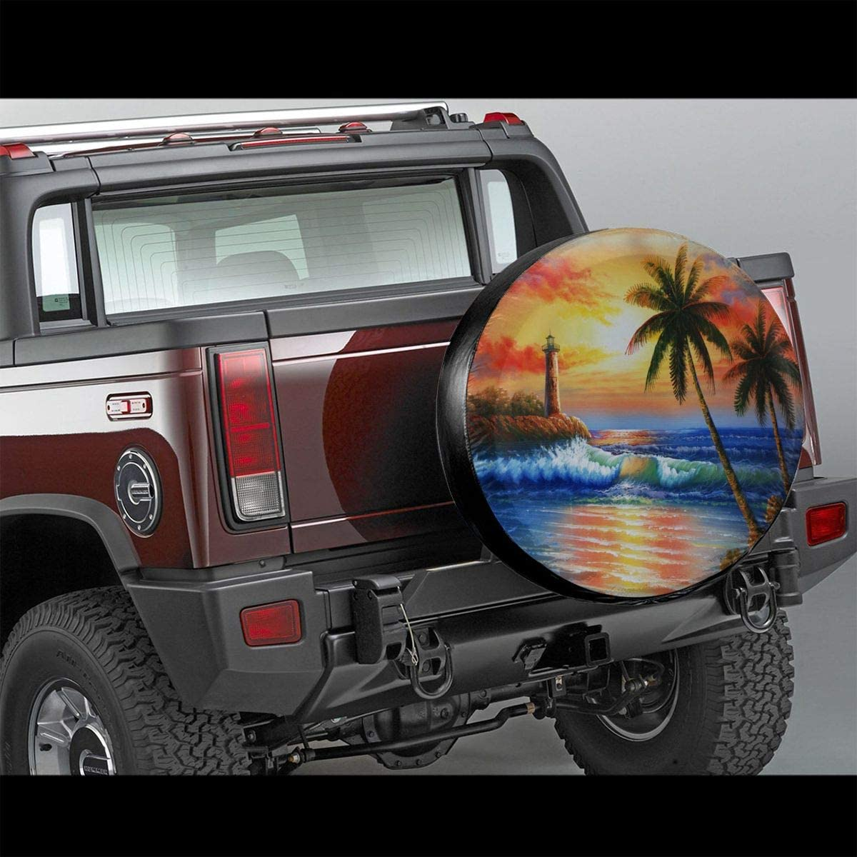 Foruidea Cool Music Note Between Fire and Water Spare Tire Cover Waterproof Dust-Proof UV Sun Wheel Tire Cover Fit for Jeep,Trailer 14, 15, 16, 17 Inch RV SUV and Many Vehicle