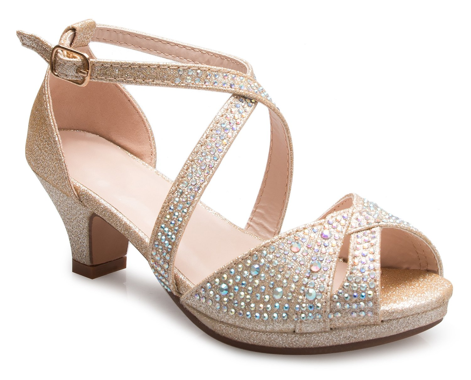OLIVIA K Girl's Cute Adorable Strappy Glitter Open Toe Heel Sandals - Adjustable Buckle