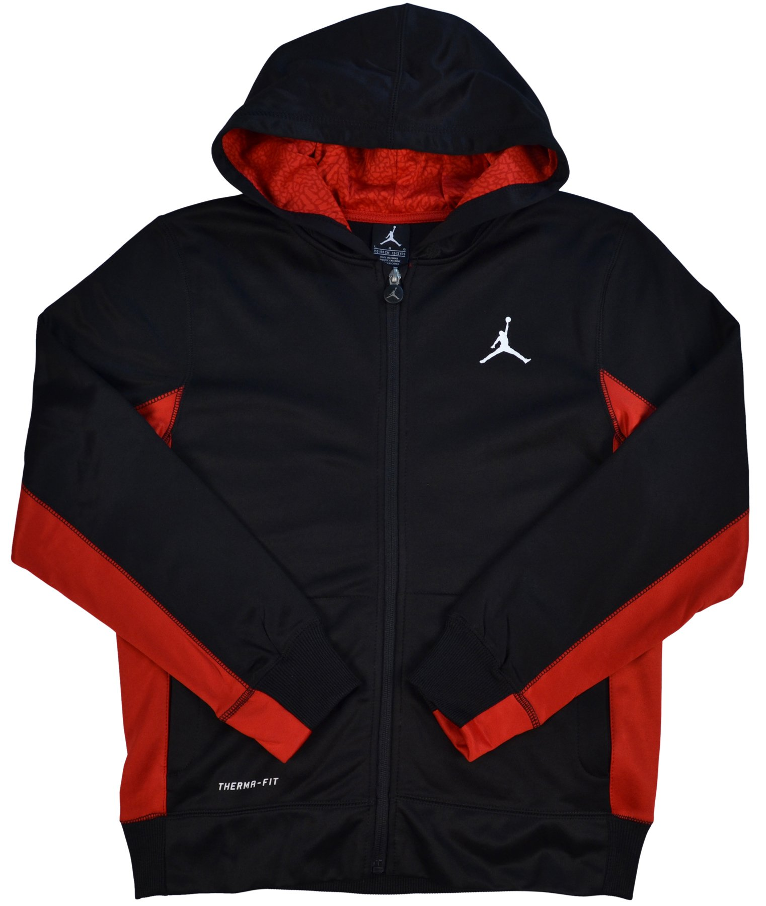 Nike Air Jordan Boys' Therma-Fit Jumpman Full Zip Hoodie (Black, X-Large)