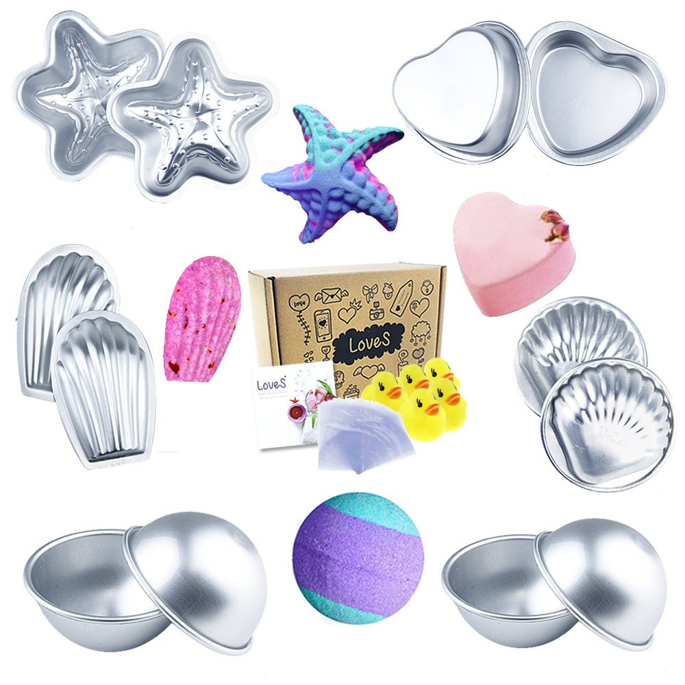 Loves Bath Bomb Mold - 48pcs Including Bath Bomb Molds/Heat Shrink Bags/Bath Toys, for Homemade Bath Bombs by HEHALI