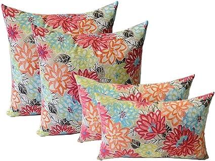 set of 4 indoor outdoor pillows 20 square throw pillows 11 x 19 rectangle lumbar decorative throw pillows yellow orange blue pink