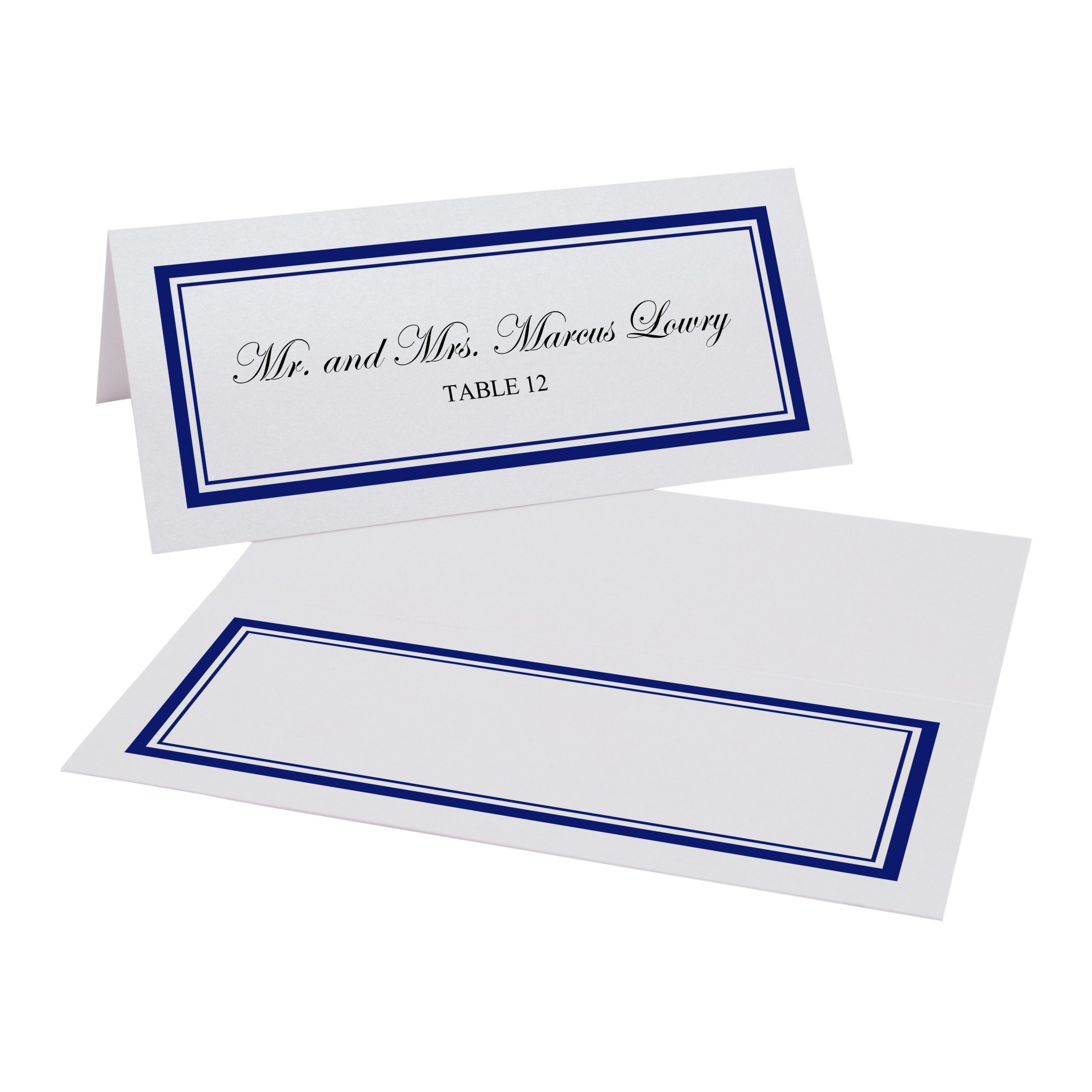 Documents and Designs Double Line Border Easy Print Place Cards (Select Color), Navy, Set of 150 (25 Sheets)