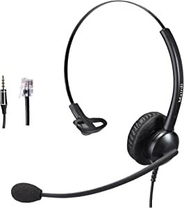 Telephone Headset with RJ9 Jack for Phone Mono with Noise Cancelling Microphone Plus Extra 3.5mm Connector for Mobiles Compatible with Avaya Nortel Polycom and iPhone Samsung