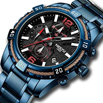 NIBOSI Mens Chronograph Quartz Watch with Stainless Steel Strap Blue Wristwatches for Men Calendar Date Watch