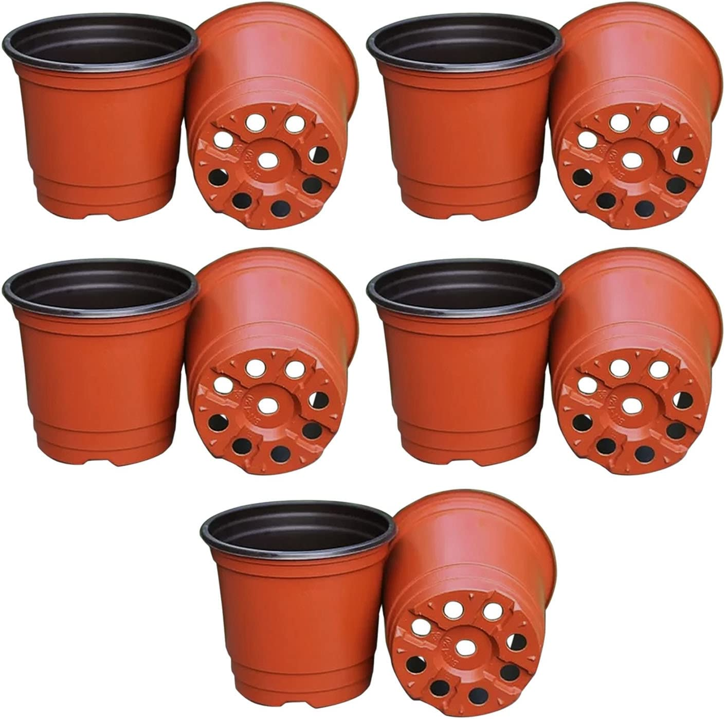 Gosear 10 Piezas Jardín Flor Maceta Vivero/Flor de Macetero Planta Pote de Plástico Doble Color, 90 x 80 x 70 mm