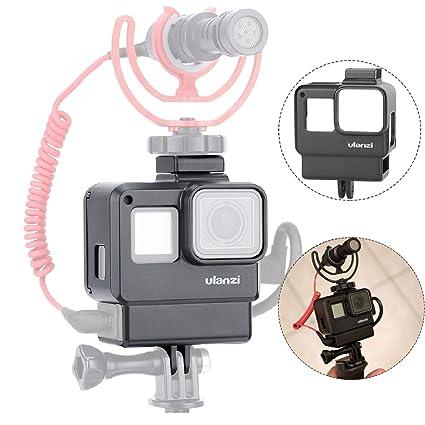 ULANZI V2 Protective Housing Case Vlogging Frame Cage with Microphone Cold  Shoe Mount Compatible for GoPro Hero 7 6 5 Vlog Setup Action Camera