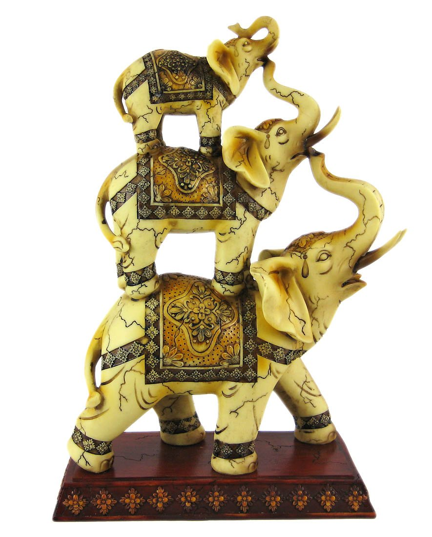 Trunk Up Good Luck Ivory Stacked Elephant Trio Statue Figurine Collectible 11.75 H