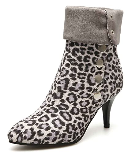 7c42c4734e5f Aisun Pointy Toe Animal Print Boots with Buckles - High Stiletto Heel Ankle  Booties (Gray