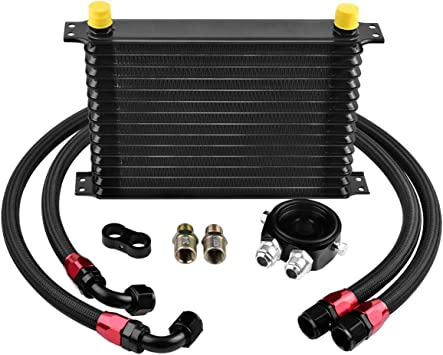 AN10 32mm Oil Cooler 15 Row Racing Coated Mount Engine Transmission Universal BK