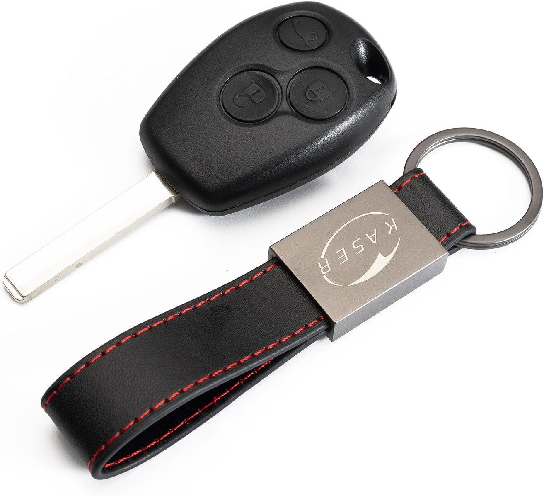 Carcasa Funda Llave Remoto Mando 3 Botones para Renault Clio Modus Twingo Kangoo con Llavero de Cuero KASER
