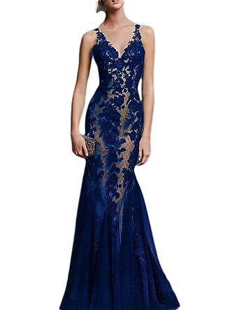 434963f4877 OYISHA Women s 2019 Long Lace Prom Dresses Elegant Tulle Mermaid Evening  Party Gala Dresses Dark Blue