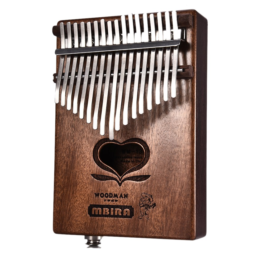 Per 17 Keys Kalimba Portable Thumb Piano Heart-Shaped Hole Solid Finger Piano Mbira/Marimba Mahogany Body With Tune Hammer& Instruction Beginner Friendly-Normal Version