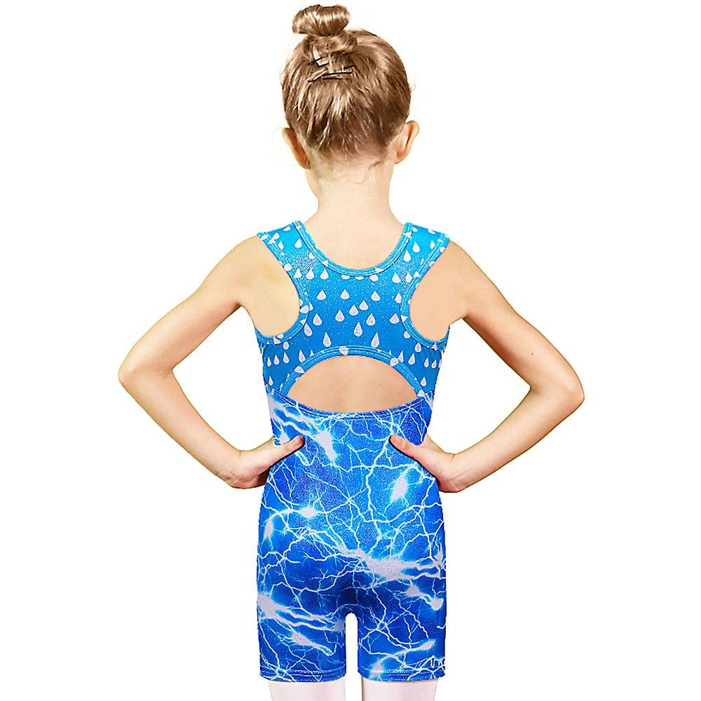 Toddler Girls Gymnastics Leotards Blue Lighting Fancy Sparkle Biketards with Shorts Blue,130