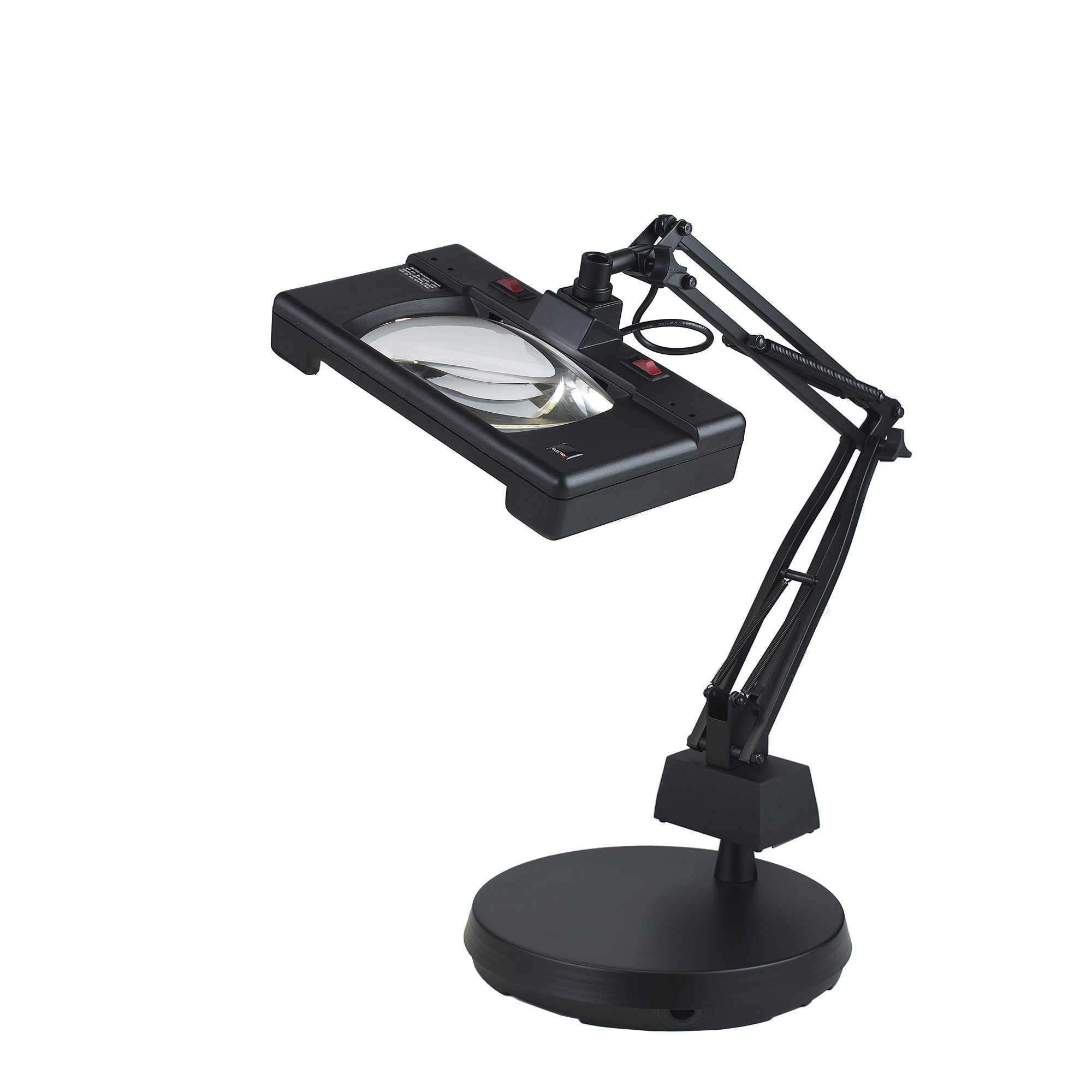 Electrix 7452 BLACK Wide View Magnifier Lamp, Fluorescent, 3-Diopter, Weighted Base Mounting, 30'' Reach, 26W, 1720 Raw Lumens