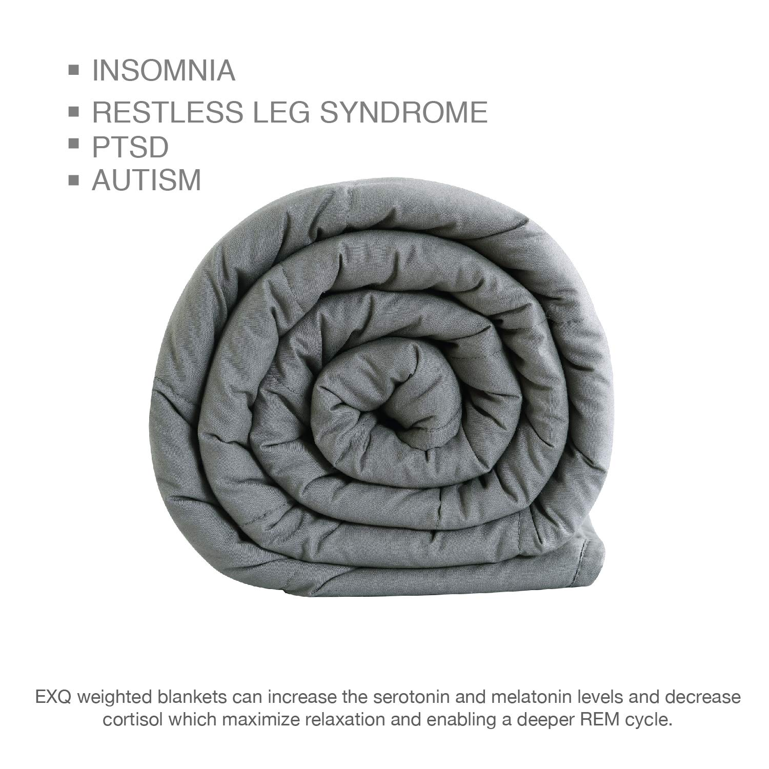 EXQ Home Weighted Blanket 7 lbs for Kids White Elephant Heavy Blanket Super Soft Thick Blanket with Premium Glass Beads Organic Cotton