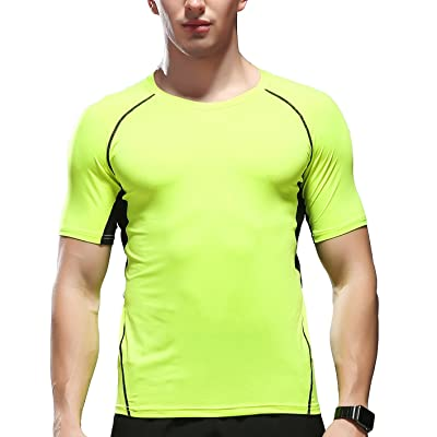 Fastorm Quick Dry Short Sleeve T-Shirt Compression T Shirt Running Fitness Shirts For Men