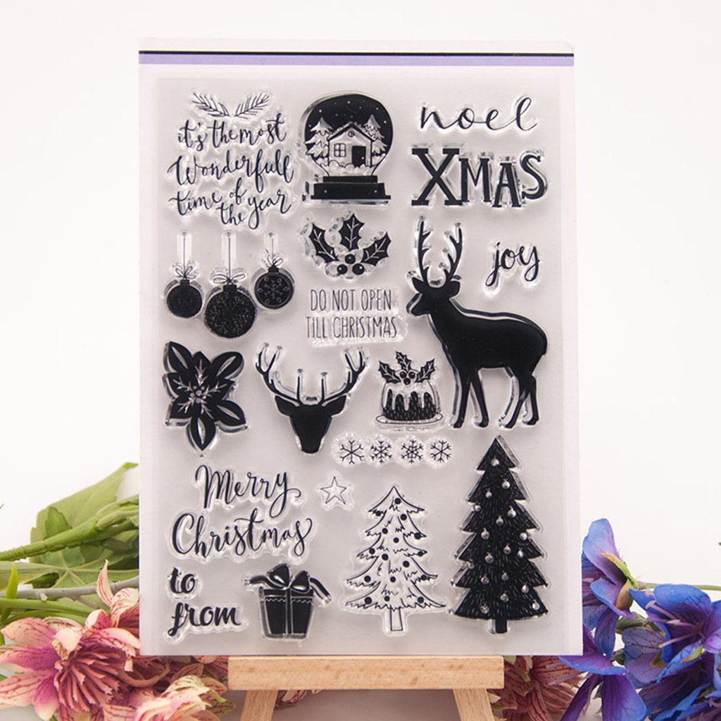 Kwan Crafts 4 Sheets Different Style Christmas Deer Clear Stamps for ...