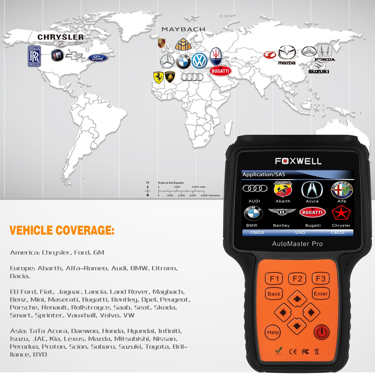 FOXWELL NT614 Automotive Scanner All Brand 4 System OBDII OBD2 Code Readers Check Engine ABS Airbag Transmission + EPB Oil Reset Car Diagnostic Tool by FOXWELL (Image #4)