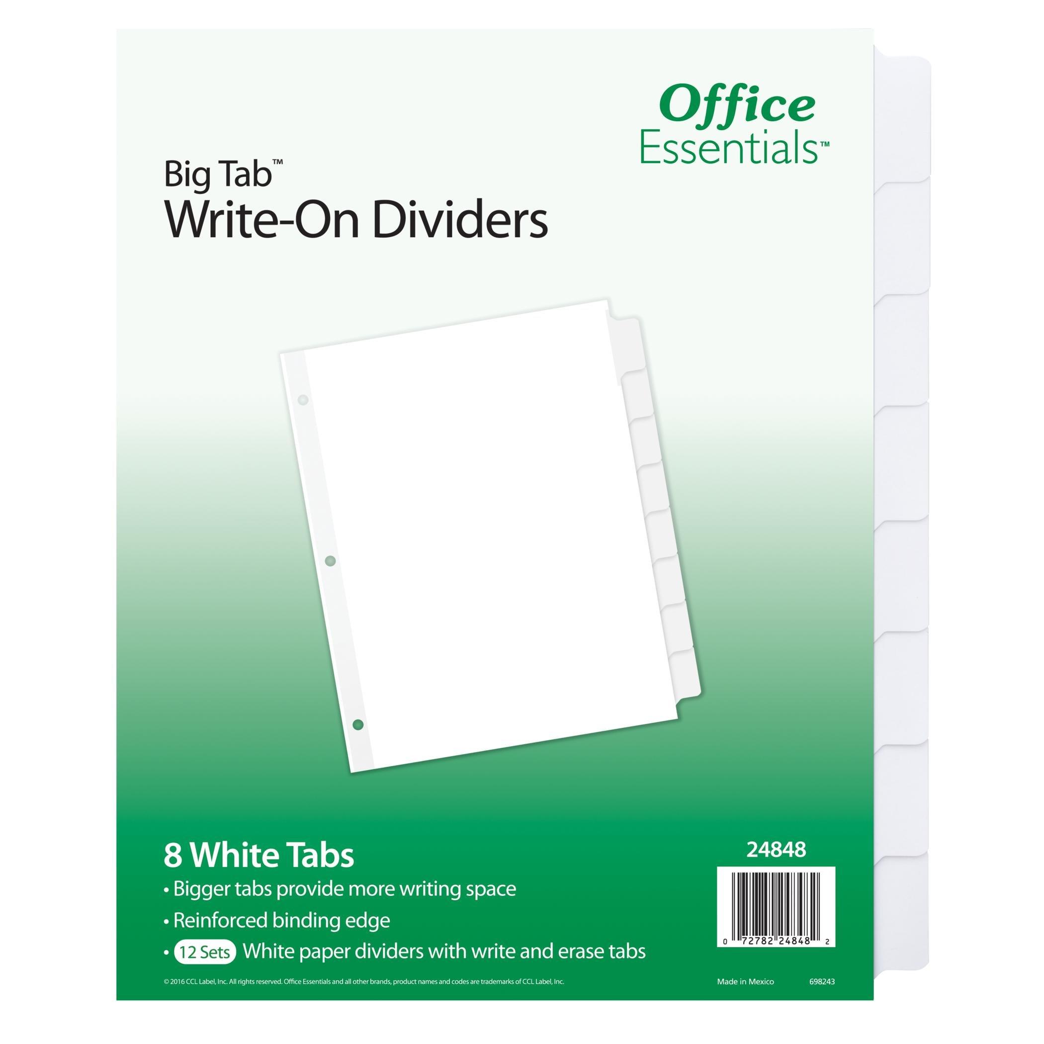 Office Essentials Big Tab Write-On Dividers, 8-1/2'' x 11'', 8 Tab, White Tab, White Body, 12 Pack (24848)
