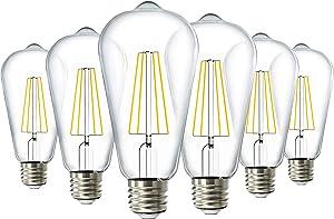 Sunco Lighting 6 Pack ST64 LED Bulb, Dimmable, 8.5W=60W, 5000K Daylight, Vintage Edison Filament Bulb, 800 LM, E26 Base, Restaurant or String Lights - UL, Energy Star