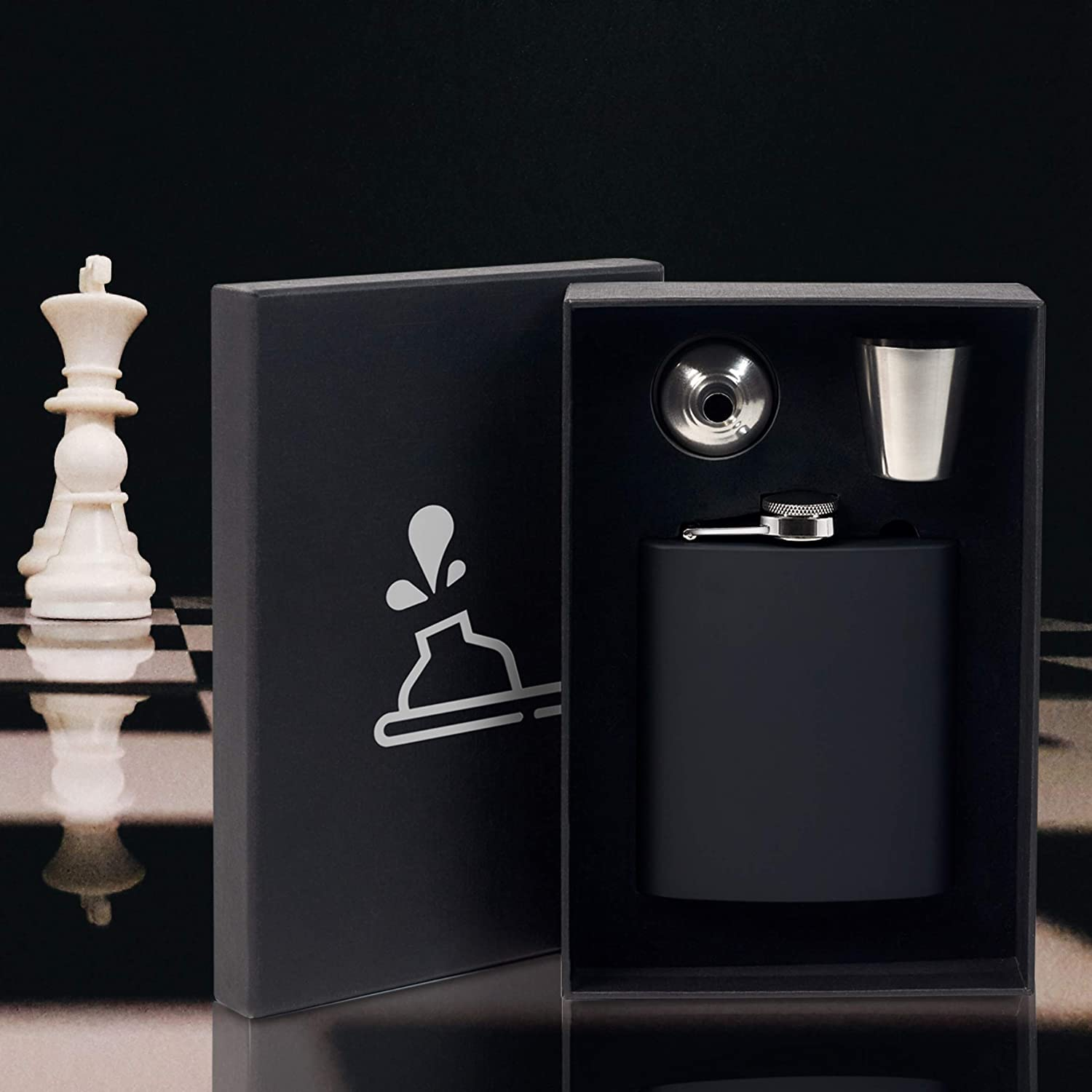FunkyDrops Whiskey Flask for Liquor for Men and Women Black Hip Flask Made of Stainless Steel with Funnel and Shot Glass