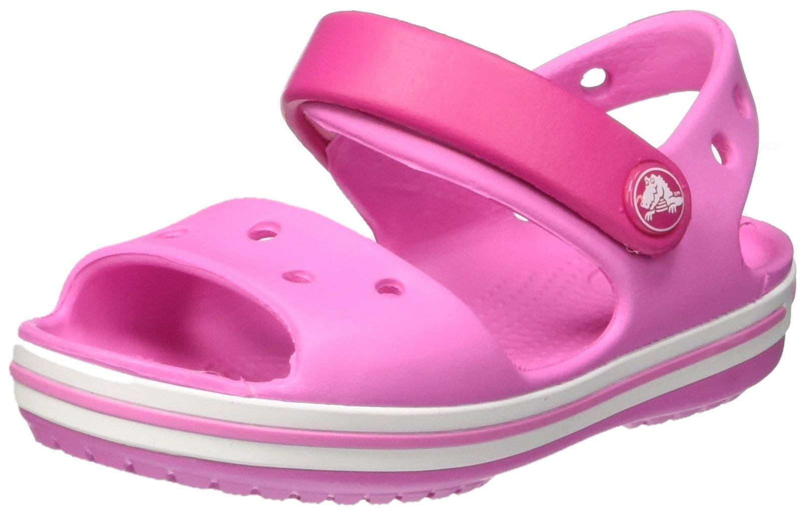 Crocs Unisex-Kids Crocband Sandal, Candy Pink/Party Pink, 2 M US Little Kid