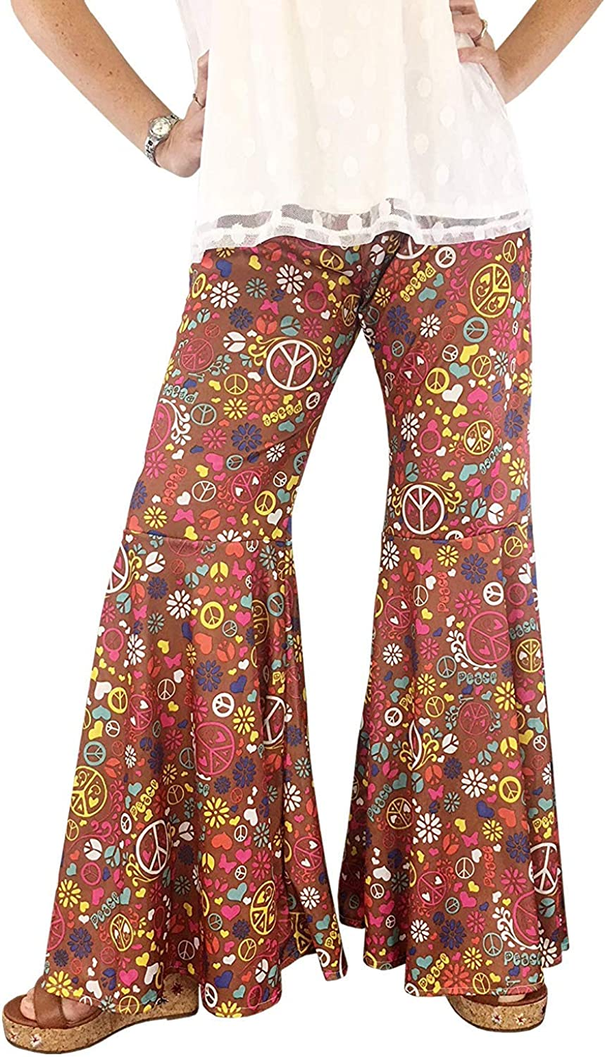 70's Clothes for Women, Groovy Hippie Bell Bottom Flared Costume Pant, Peace Sign