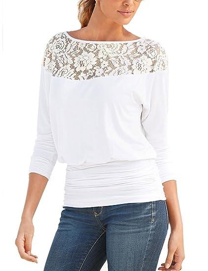 Minetom Mujer Camiseta Larga Blusa Tapas Moda T Shirt Hombro Manga Encaje Diseño Mangas Larga Cuello