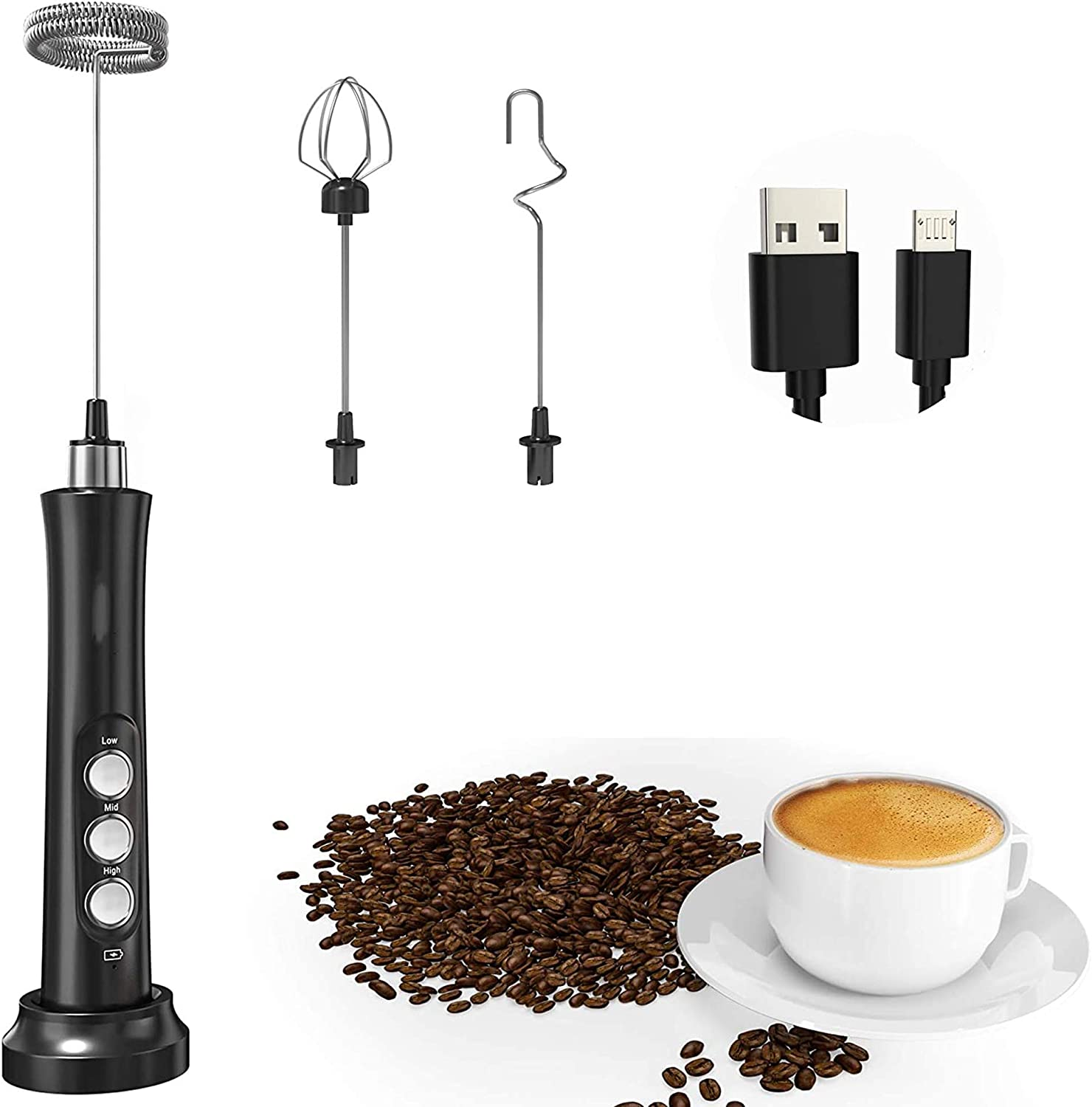Milk Frother Handheld, USB Rechargeable 3 Speeds Mini Electric Milk Foam Maker Blender Mixer for Coffee, Latte, Cappuccino, Hot Chocolate,Milk Powder, Egg & Stainless Steel Stand Included (Black)