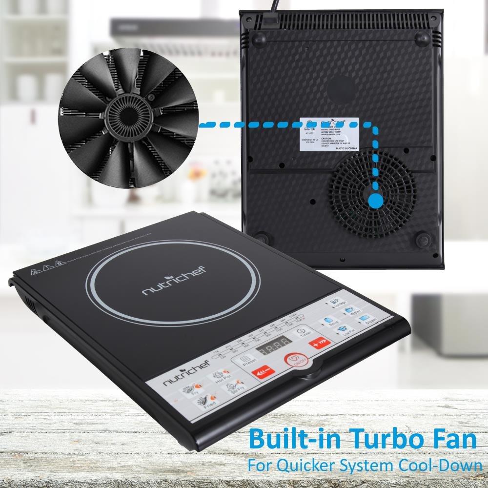 NutriChef portátil 120 V eléctrica vitrocerámica cocina de inducción - profesional digital de cerámica encimera quemador w/construido en ventilador ...