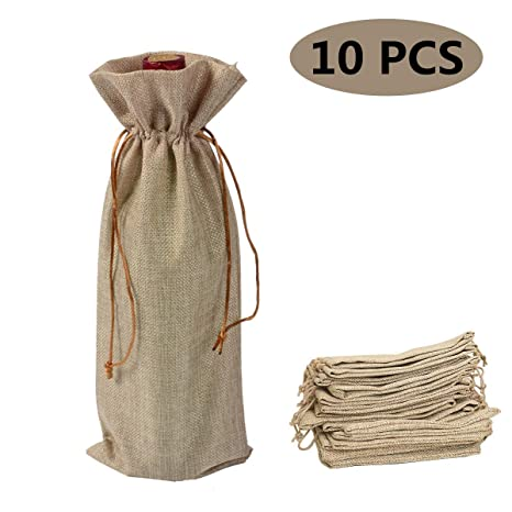 Bolsas de Vino de Yute, 35 x 15cm Bolsas de Vino Hessian Wine Carriers con cordón, Bolsas de Regalo Ideales para Vino (Color de Marron de 10 Piezas)