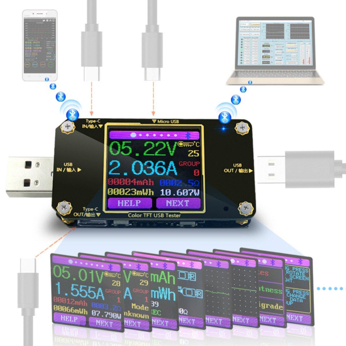 USB Tester Voltmeter USB Voltage Tester and Current Tester USB Power Meter Digital Voltage Tester Display Color USB Multimeter Tester Multi-Function Type-C PD Ammeter Detector Voltmeter