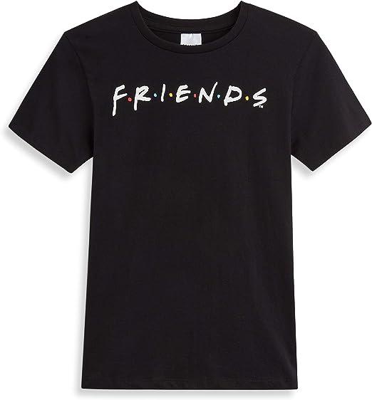 Friends Camisetas Mujer, Camiseta Mujer con Logo Serie, Camiseta Negra Mujer de Manga Corta Algodon 100%, Regalos Originales para Mujer Chicas Adolescentes Talla 36-50: Amazon.es: Ropa y accesorios