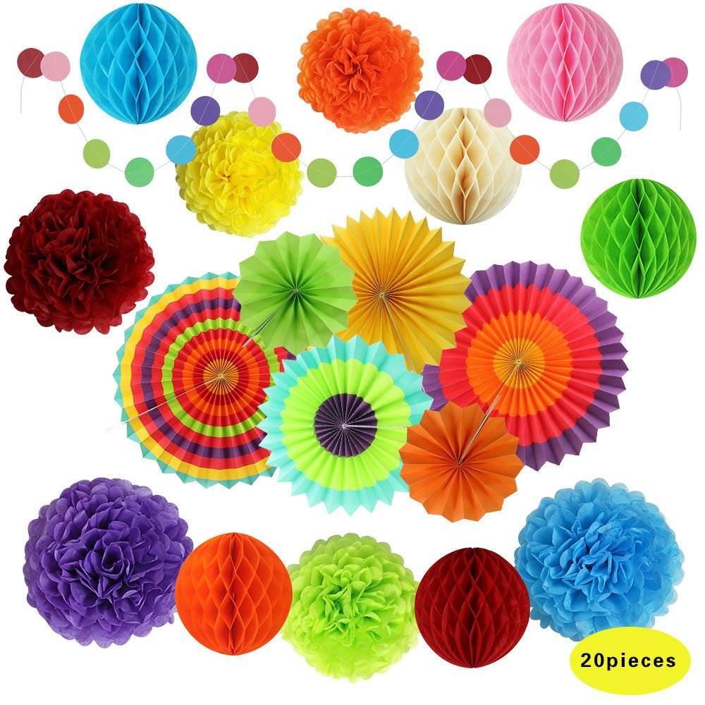 Fiesta Party Decorations, Paper Fans, Pom Poms and Rainbow Party Supplies for Birthdays, Cinco De Mayo, Festivals, Carnivals, Graduation (20 Pieces) by sky and willow
