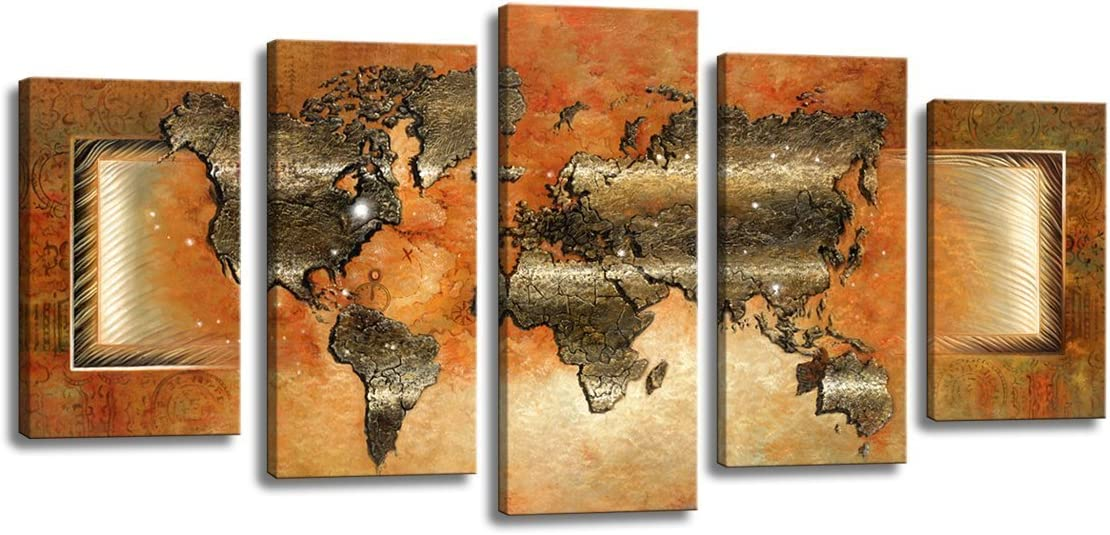 yixuanwall art Canvas Prints Map Art, 5 Panels World Map Wall Art Antiquated Style, Framed Stretched