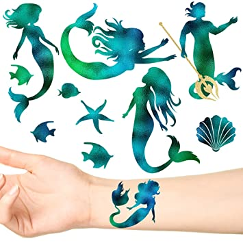 c284314e13d82 Image Unavailable. Image not available for. Color: Groovi - Mermaid Seas Temporary  Tattoo Set ...