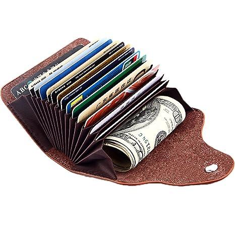 07188c0227 ALAIX Porta carte di credito in vera pelle Porta carte di credito con  blocco RFID piccolo