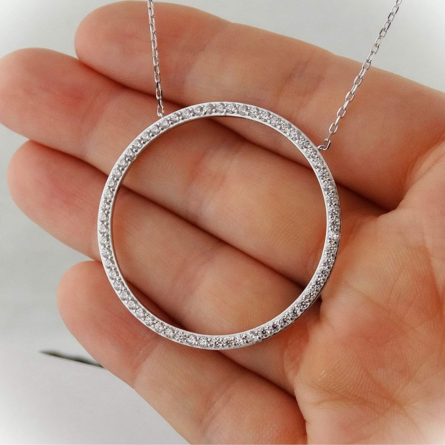 Top 10 Jewelry Gift Stainless Steel Marcasite Textured Circle Necklace