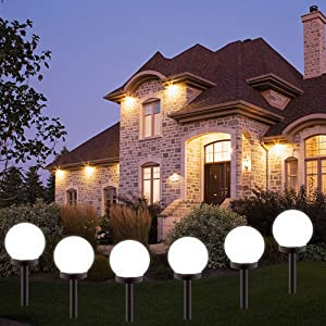 BORITE Solar Lights Outdoor,8 Pack LED Solar Garden Light Decorative,Solar Globe Light Waterproof Outdoor Landscape Path Light White Light…