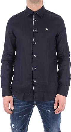 Emporio Armani Hombre Camisa BLU Navy: Amazon.es: Ropa y accesorios
