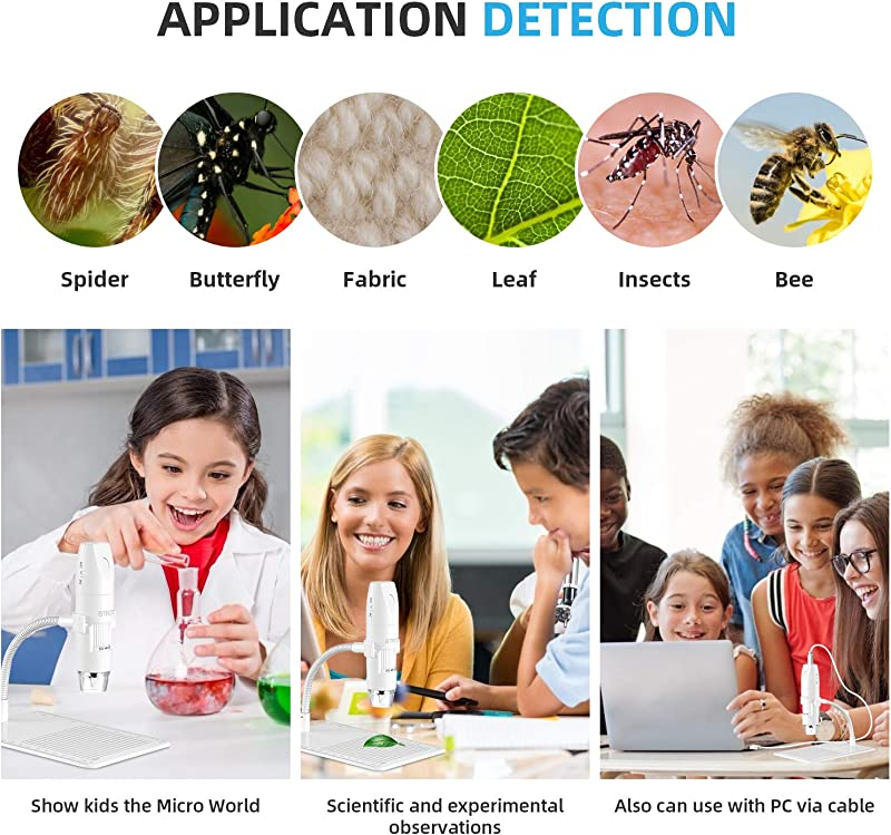 STPCTOU Wireless Digital Microscope USB 50X-1000X 1080P Handheld Portable Mini WiFi Microscope Camera