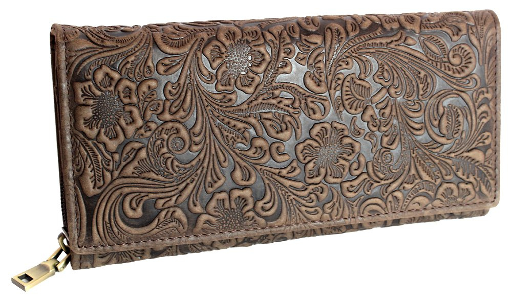 Designer Damen Echtleder Geldbörse Exclusives Portemonnaie aus geprägtem Leder Geldbeutel für Frauen Portmonee in 4 Farben (5554) (Braun)